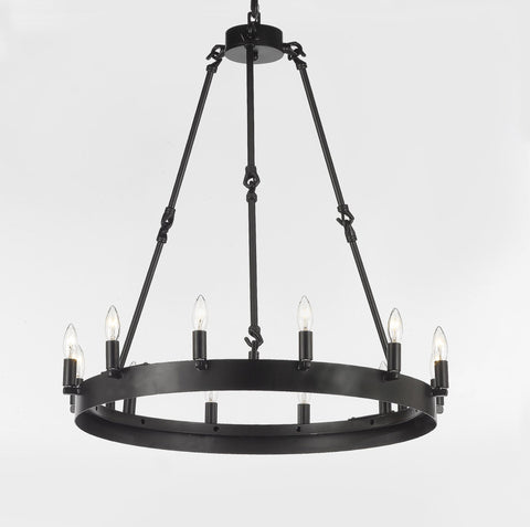 "Wrought Iron Vintage Barn Metal Castile One Tier Chandelier Chandeliers Industrial Loft Rustic Lighting W 26"" H 27"" - G7-3428/12"