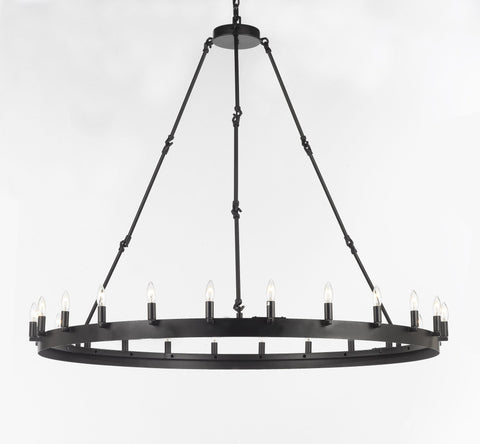 "Wrought Iron Vintage Barn Metal Castile One Tier Chandelier Chandeliers Industrial Loft Rustic Lighting W 50"" H 48"" - G7-3428/24"