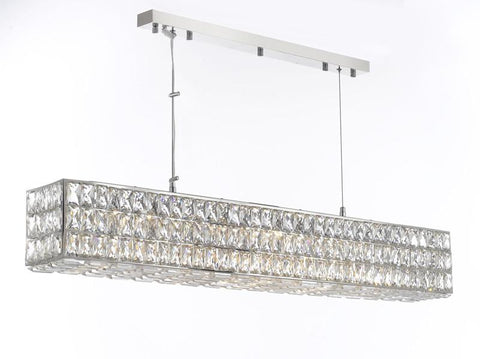 "Crystal Nimbus Linear Chandelier Modern / Contemporary 48.5"" Wide - Good For Dining Room Foyer Entryway Family Room Etc W48.5"" H6.5"" - Gb104-3063/10"