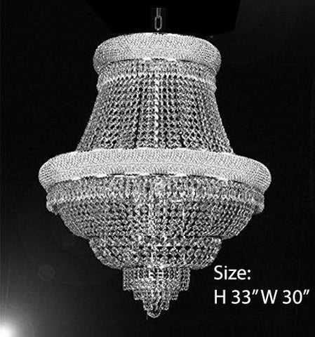 "FRENCH EMPIRE CRYSTAL CHANDELIER CHANDELIERS DRESSED WITH SWAROVSKI CRYSTAL- H33"" x W30"" - Good for Dining Room Foyer Entryway Family Room Bedroom Living Room and More! - F93-B92/CS/448/21SW"