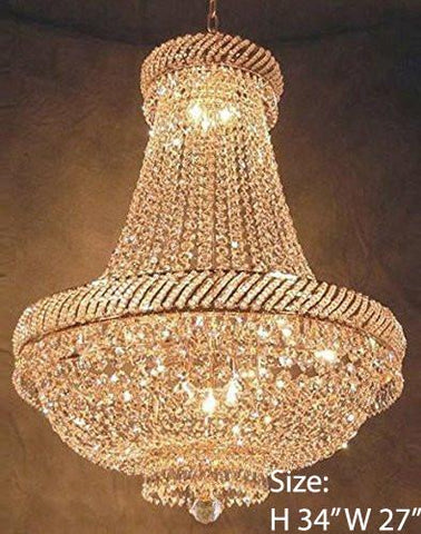 "Swarovski Crystal Trimmed Chandelier French Empire Crystal Chandelier Lighting H34"" X W27"" - F93-448/12 Sw"
