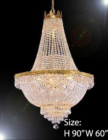 "Entryway / Foyer French Empire Crystal Chandelier Empress Crystal (Tm) Chandeliers H90"" W60"" - A93-870/48"