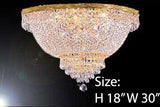 "Swarovski Crystal Trimmed Chandelier Flush Basket Empire Crystal Chandelier Lighting H 18"" W 30"" - A93-Flush/870/14 Sw"