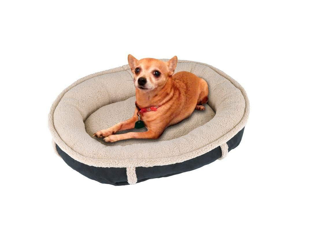 Faux Suede Round Dog Bed Pet Bed Cat Bed - J10-101-27X24-BK