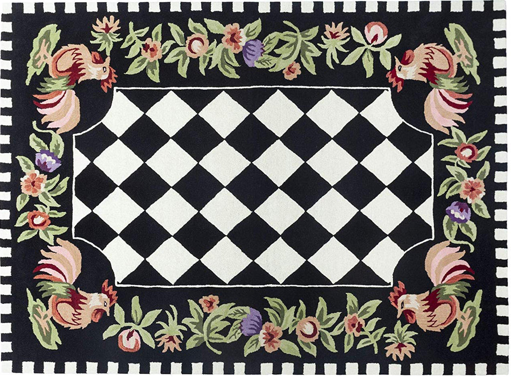 Rooster Checkered Wool Rug Handtufted Area Rug 5 X 7 - J10-IN-207-5X7