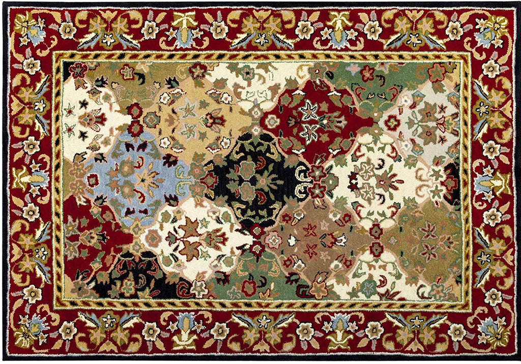Traditional Oriental Multi and Burgundy Wool Hand Tufted Area Rug 5 X 7 - T302-IN-209-5X7