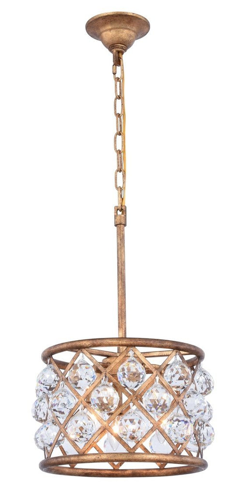 ZC121-1214D12GI/RC - Urban Classic: Madison 3 light Golden Iron Pendant Clear Royal Cut Crystal