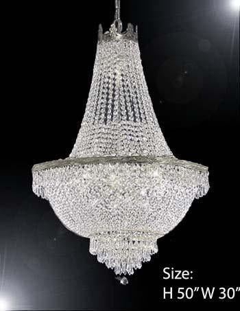 "French Empire Crystal Chandelier Lighting H50"" X W30"" - A93-Silver/870/14Large"