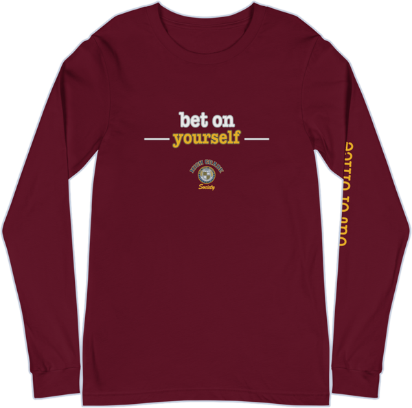 Bet On Yourself OOO Long Sleeve Tee - Maroon