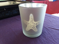 Candle Holder, glass, star fish