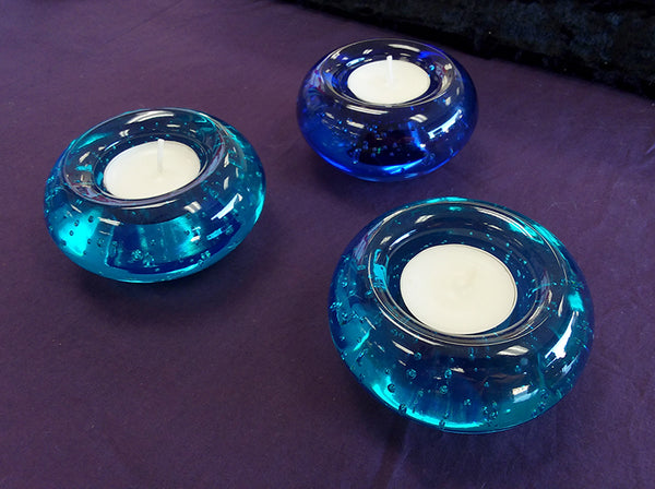 Blue Glass Candle Holders
