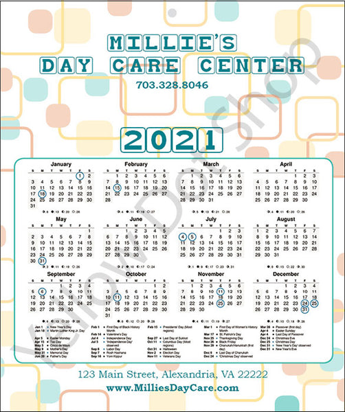 Full Year Calendars - Daycare Design