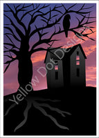 Halloween Card- Haunted House at Sunset