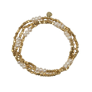 A Beautiful Story Cheer Pearl Goud armband