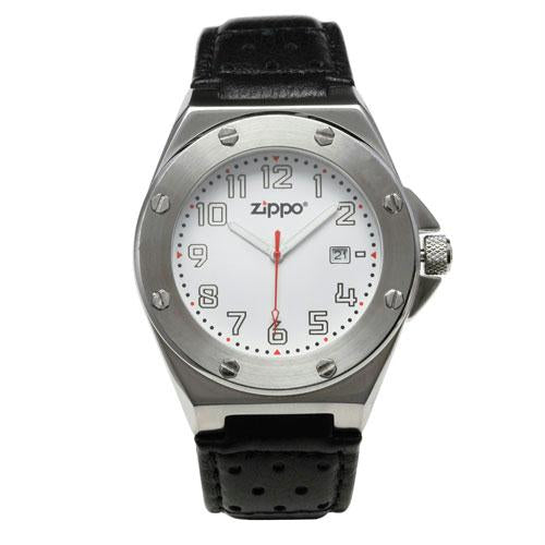 Zippo Casual Watch Brushed Chrome Buckle - White Face - Black Strap