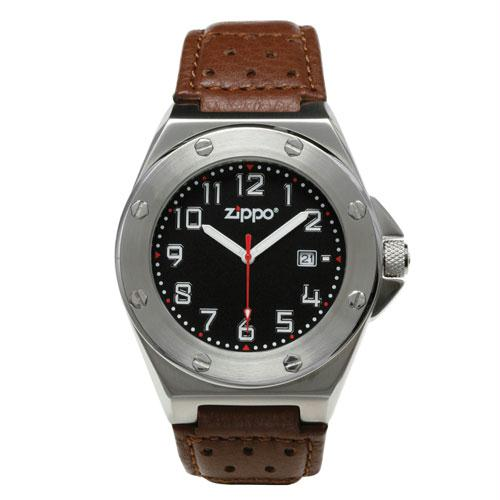 Zippo Casual Watch Brushed Chrome Buckle - Black Face - Brown Strap