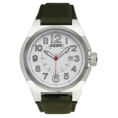 Zippo Sport Watch - White Face/Olive Drab Fabric Strap