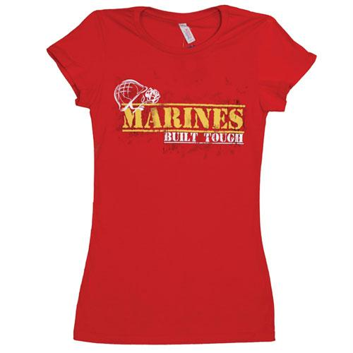 Women's Cotton Tee's - Marines Built Tough / Red / L