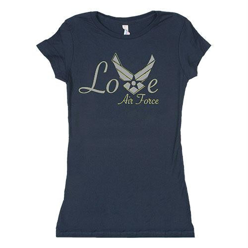 Women's Cotton Tee's - Love Air Force / Navy / L