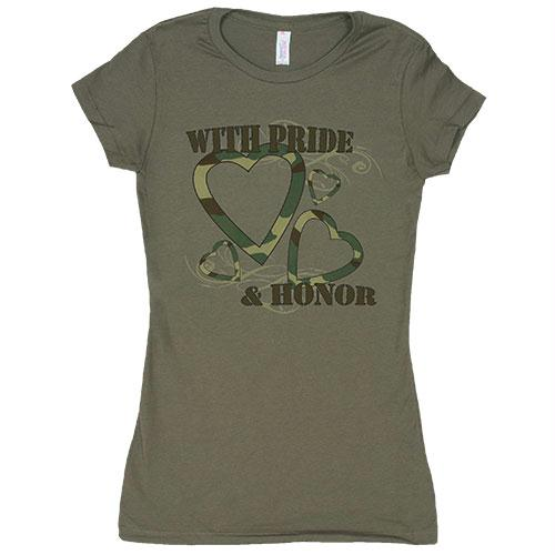 Women's Cotton Tee's - With Pride & Honor / Olive Drab / L