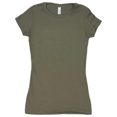Women's Cotton Tee's - Olive Drab / No Imprint / M