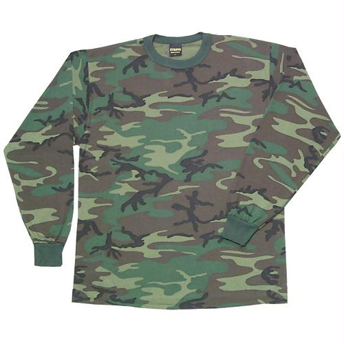 Youth's Long Sleeve T-shirt - Woodland Camo / XS