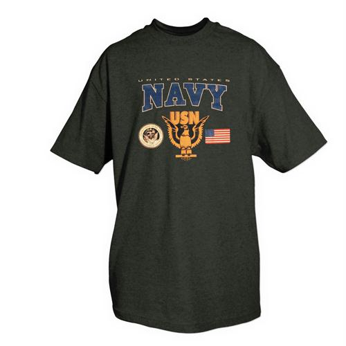 Navy One-sided Imprinted T-shirt - L / USN with Logos / Navy