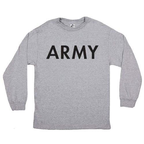 Long Sleeve Imprinted T-shirt - L / Army - Heather Grey - Black Imprint