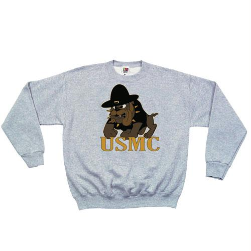 Crewneck Sweatshirt - S / Marines Bulldog - Grey