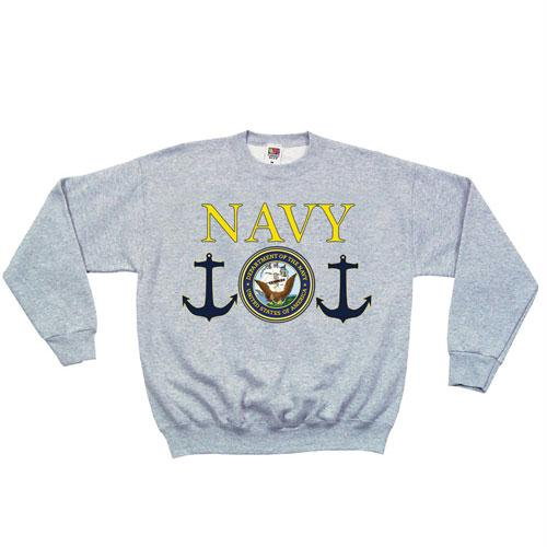 Crewneck Sweatshirt - S / Navy Seal - Grey