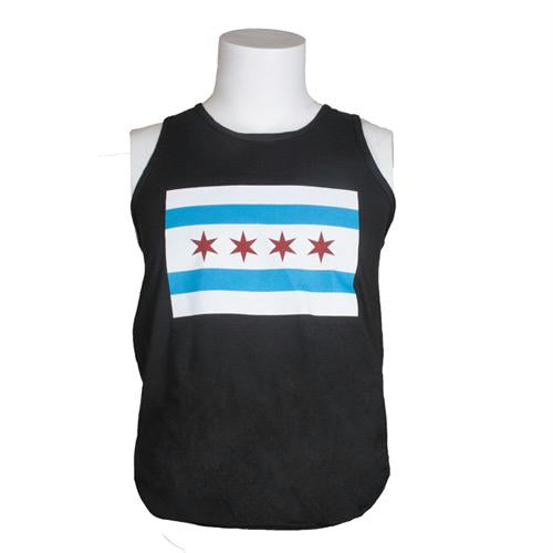 City Of Chicago Flag Men's Tees - XL / Chicago Flag - Black - Tank Top