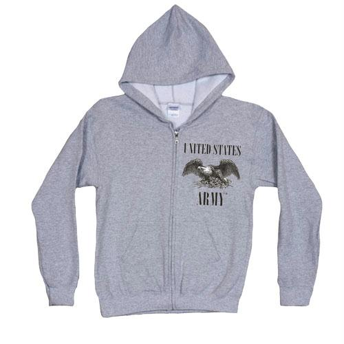 Zip Front Hooded Sweatshirt - Army Eagle - Grey / L