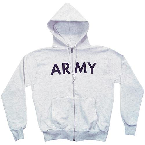 Zip Front Hooded Sweatshirt - Army - Grey / L