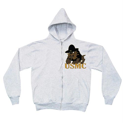 Zip Front Hooded Sweatshirt - Marines Bulldog - Grey / 3XL