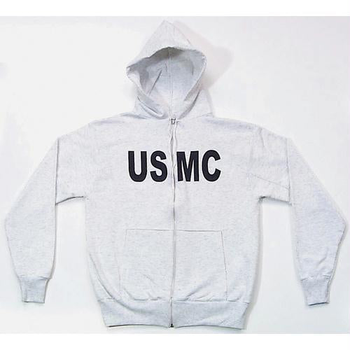 Zip Front Hooded Sweatshirt - USMC - Grey / L