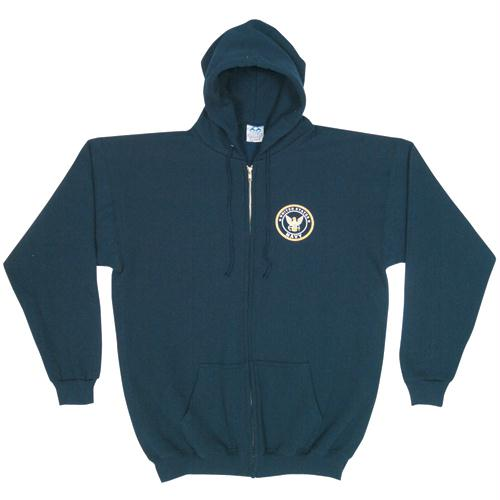 Zip Front Hooded Sweatshirt - Navy Logo - Navy Blue / S