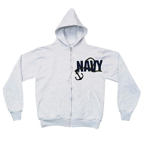 Zip Front Hooded Sweatshirt - Navy Anchor - Grey / 2XL