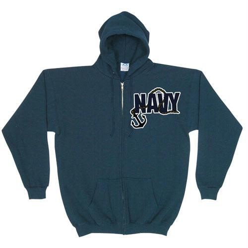 Zip Front Hooded Sweatshirt - Navy Anchor - Navy / L