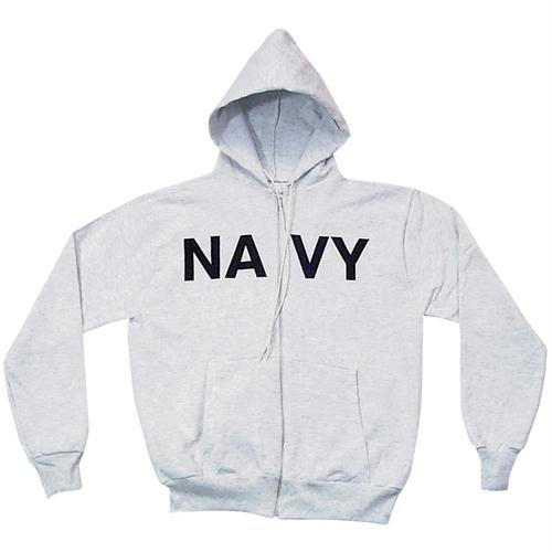 Zip Front Hooded Sweatshirt - Navy - Grey / L