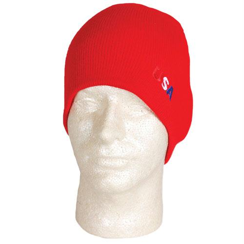 Usa Collection - USA Embroidered Beanie - Red