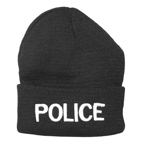 Embroidered Watch Cap - Police / Black with White Text