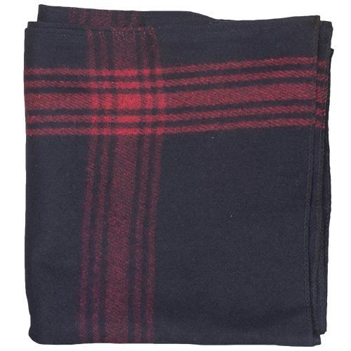 Red-Striped Navy Wool Blanket