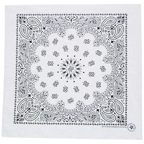 Cotton Bandanna - White Paisley