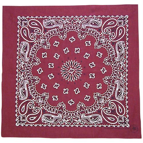 Cotton Bandanna - Burgundy Paisley