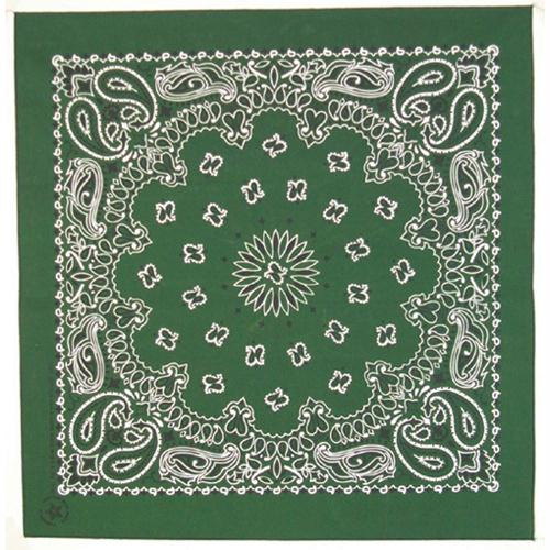 Cotton Bandanna - Hunter Green Paisley