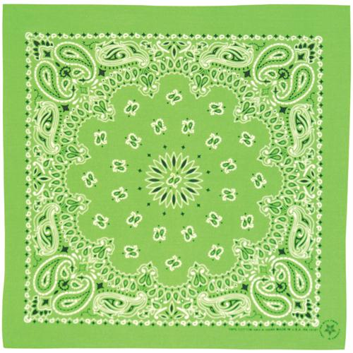 Cotton Bandanna - Kelly Green Paisley