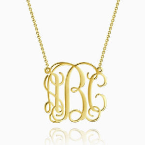 Large Monogram Necklace 14Kt Gold Plated