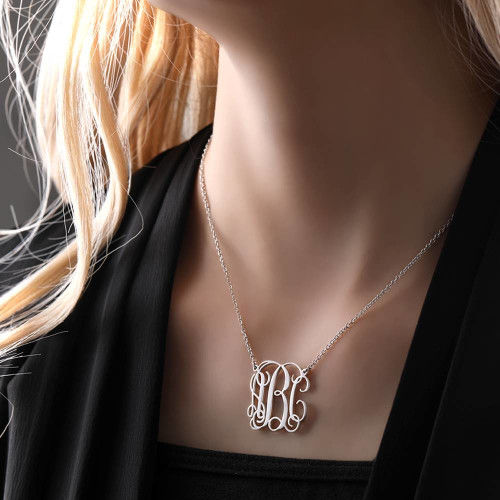 Small Monogram Necklace Silver