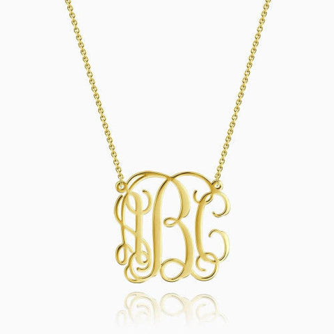 Small Monogram Necklace 14Kt Gold Plated