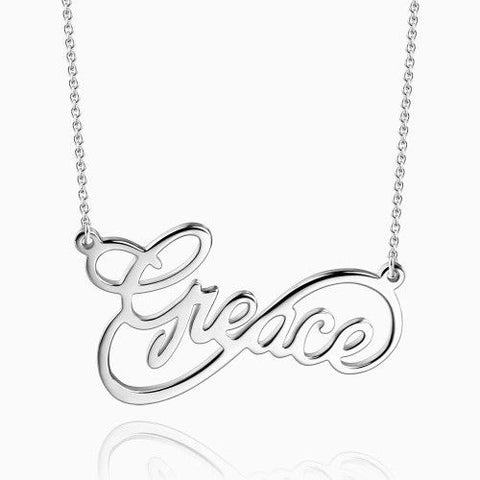 Infinity Script Name Necklace Silver